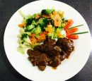 Garlic Chicken Livers with Vegetable medley :-)